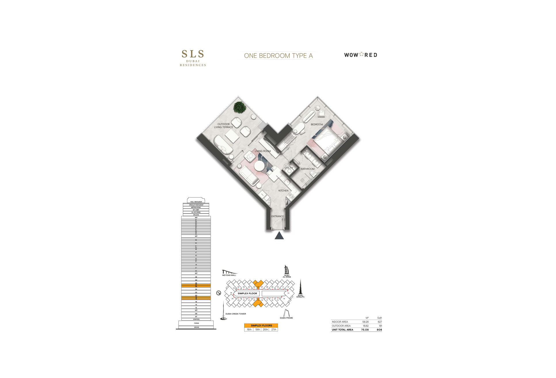 SLS Residences 1 BR Floor Plan Type A