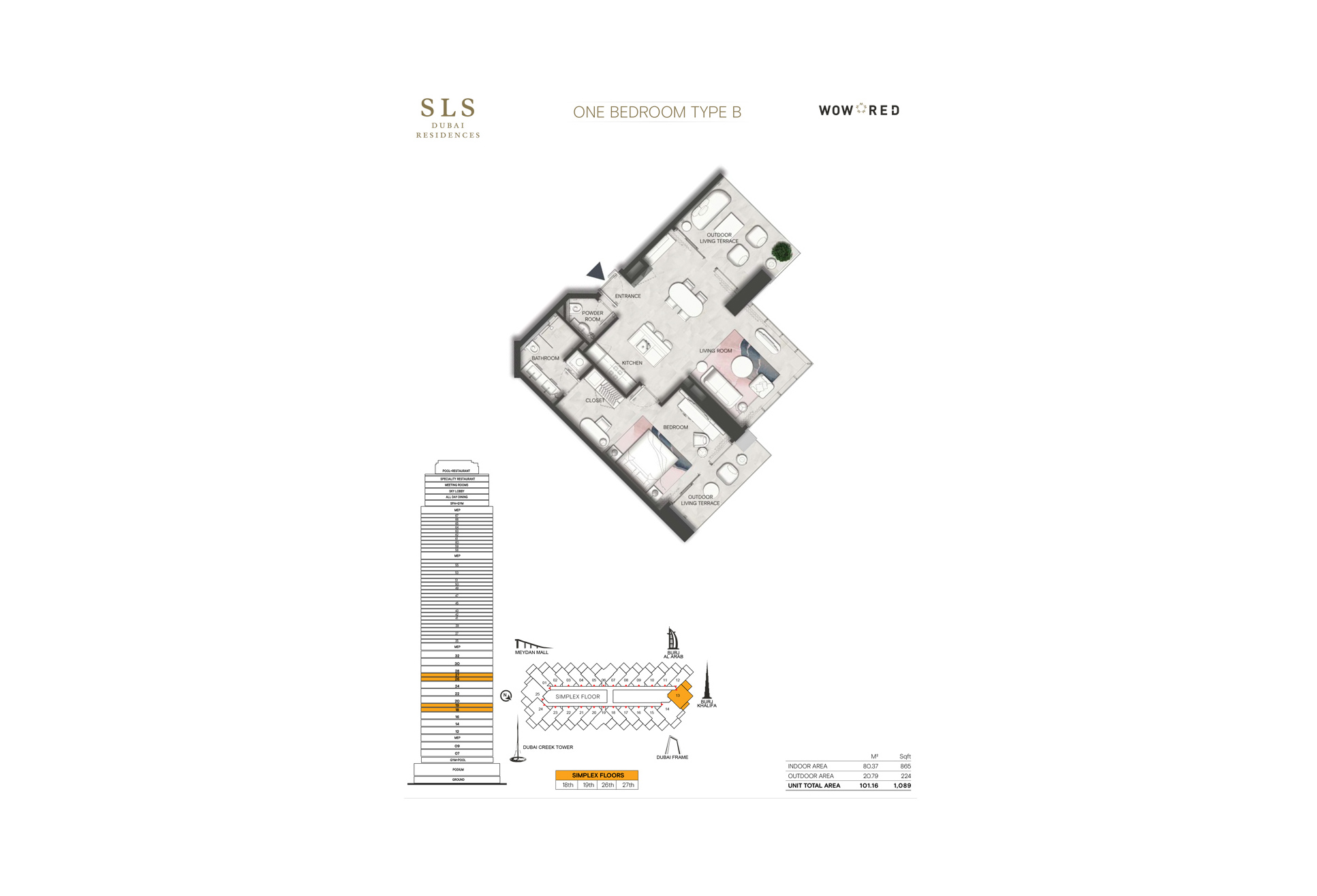 SLS Residences 1 BR Floor Plan Type B