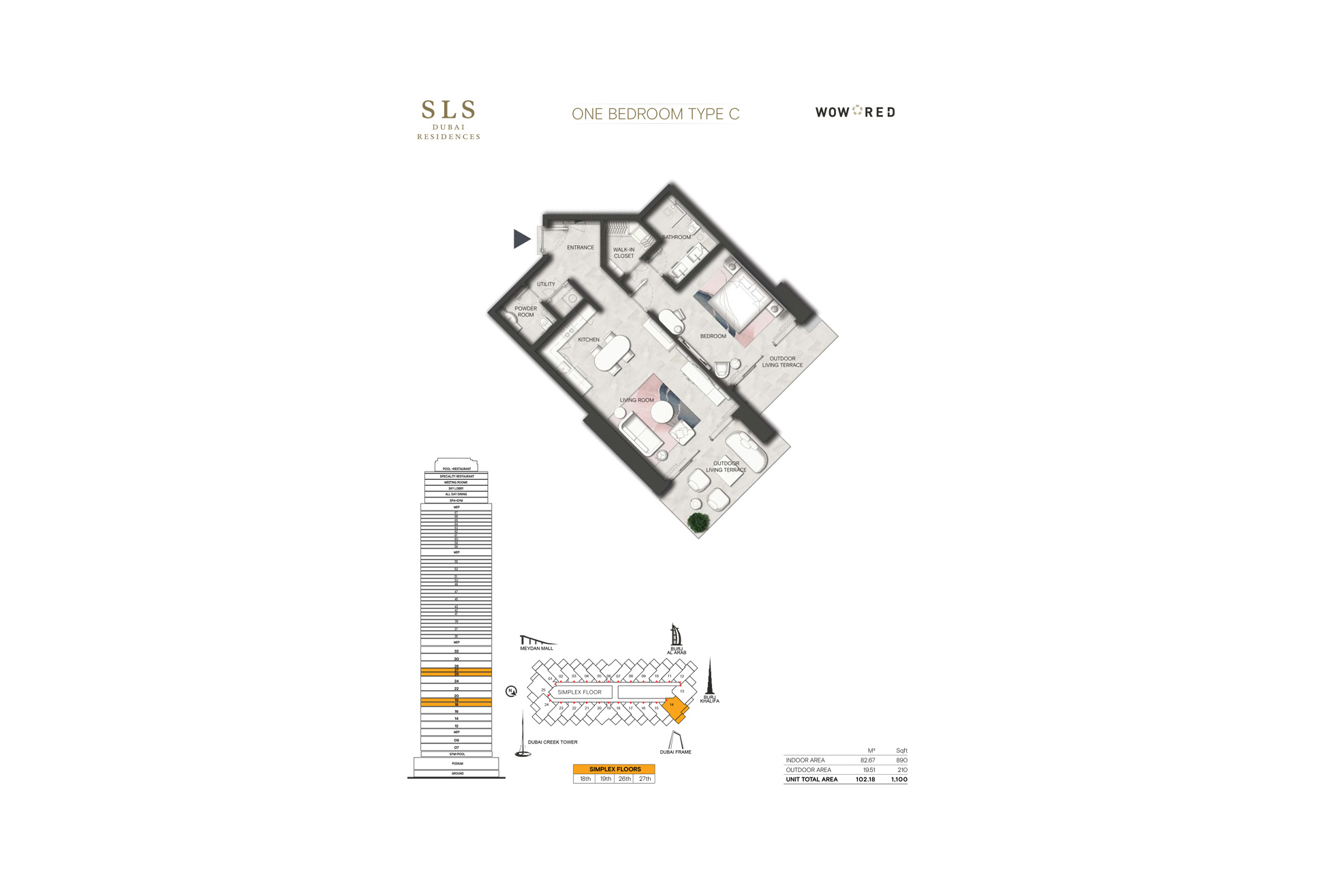 SLS Residences 1 BR Floor Plan Type C